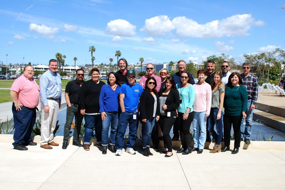 Group photo of award winners outside in sunny San Diego