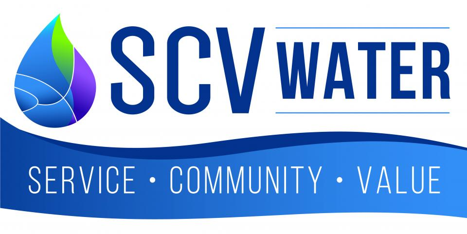 "SCV Water logo with tagline ""Service, Community, Value"""